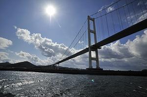 室蘭の観光名所でもある白鳥大橋を海から見上げる。