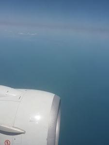仙台空港を飛び立つと牡鹿半島の田代島・網地島・金華山が一望出来ます。