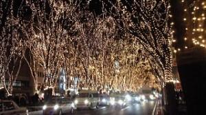 仙台・光のページェント。復興を願う希望の光が漆黒の闇夜を照らしています。