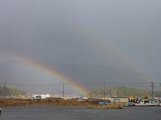 偶然にも雨あがり、虹が二つ出来ていました。