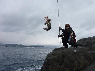 ロングスピン釣方で遥か沖から魚を手繰り寄せる。